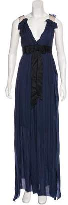 Lanvin Bow-Accented Draped Gown