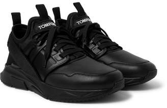 Tom Ford Jago Leather And Neoprene Sneakers
