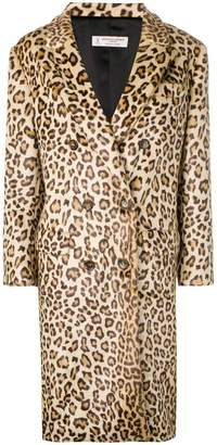 Alberto Biani leopard print double-breasted coat