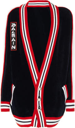 Balmain Logo-Embroidered Striped Cotton-Blend Cardigan
