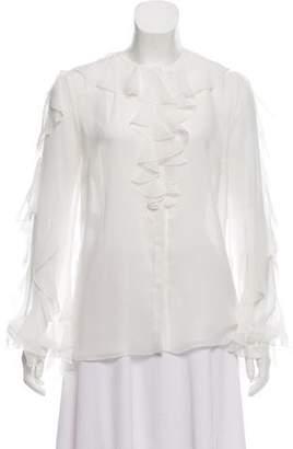 Giambattista Valli Ruffled Silk Top w/ Tags