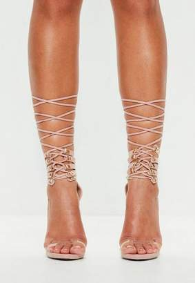 Missguided Nude Lace Up Cuff Heeeled Sandals