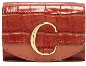 Chloé The C Logo Crocodile Effect Leather Wallet - Womens - Dark Brown