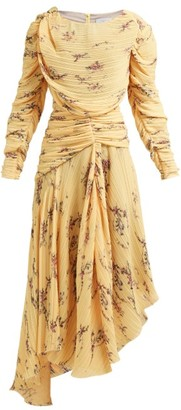 Preen by Thornton Bregazzi Sandra Floral Print Pleated Dress - Womens - Yellow Multi