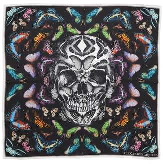 Alexander McQueen Skull & Rainbow Butterflies Print Silk Bandana