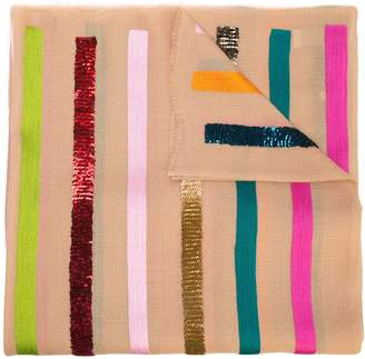 Janavi striped cashmere scarf