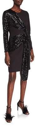 Aidan Mattox Sequin Drape Long-Sleeve Crepe Sheath Dress