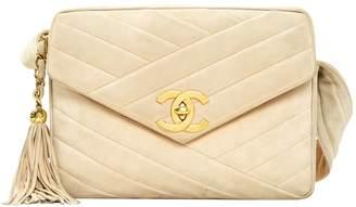 Chanel Vintage Camera Beige Suede Handbag