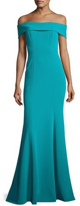 Theia Off-the-Shoulder Stretch Crepe Gown, Teal $695 thestylecure.com