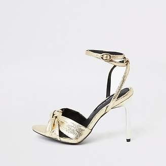 River Island Gold knot front heeled sandals