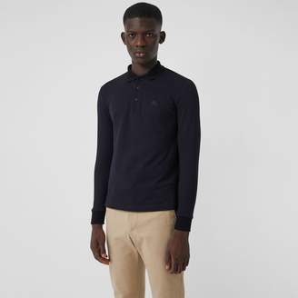 Burberry Long-sleeve Cotton Pique Polo Shirt, Blue