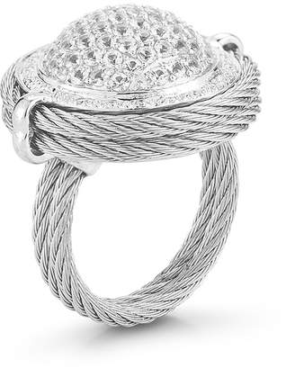 Alor 18k Domed Diamond & Sapphire Cable Ring, Size 6.5