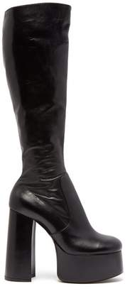 Saint Laurent - Billy Leather Knee High Boots - Womens - Black