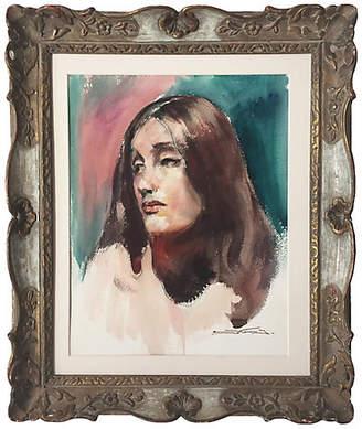 One Kings Lane Vintage Portrait of a Woman by Emile Kosa Jr. - Antiquarian Art Company Art