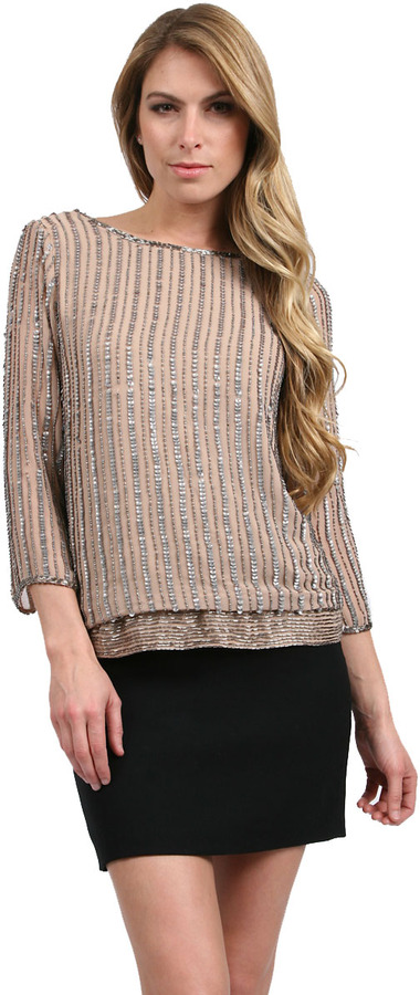 Adrianna Papell Fully Bead Top with Deep Back in Taupe