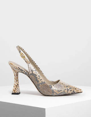 Charles & Keith Sculptural Heel Slingback Pumps