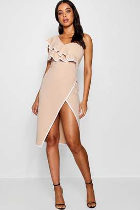 boohoo One Shoulder Contrast Ruffle Midi Dress