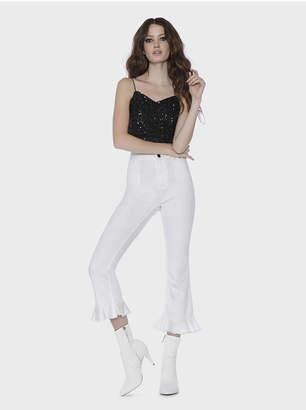 Alice + Olivia Zoe Ruffled Hem Jeans