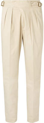 Rubinacci Manny Tapered Pleated Brushed Stretch-Cotton Twill Trousers
