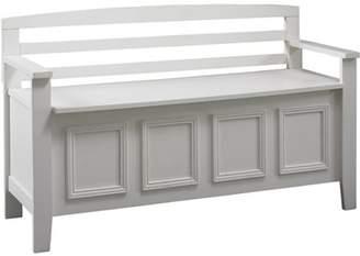 Linon Laredo Storage Bench, White, 18 inch Seat Height
