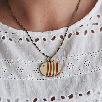 Bumble Bee Ginger Pickle Wooden Necklace