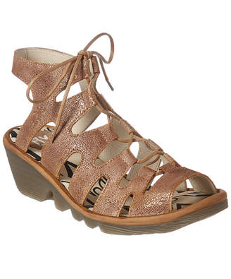 Fly London Port Leather Wedge Sandal