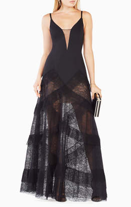 BCBGMAXAZRIA Avaline Pleated Gown