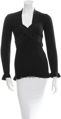 Jean Paul Gaultier Rib Knit V-Neck Top $85 thestylecure.com