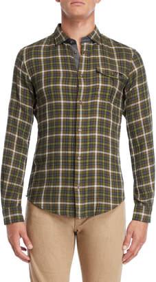 Armani Jeans Green Plaid Slim Fit Shirt