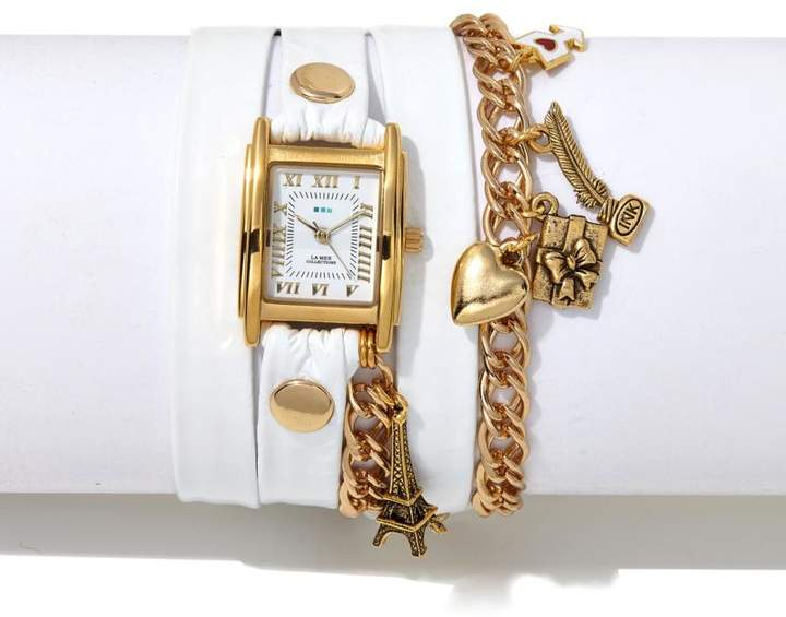 La Mer Parisian-Inspired Goldtone Chain and Charms White Leather Wrap-Design Watch