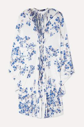Vetements Pleated Floral-print Crepe Midi Dress - White