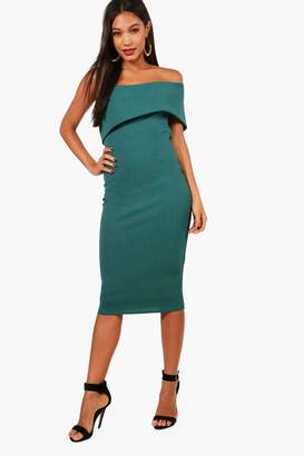 boohoo Olivia Oversized Bardot Open Back Midi Dress