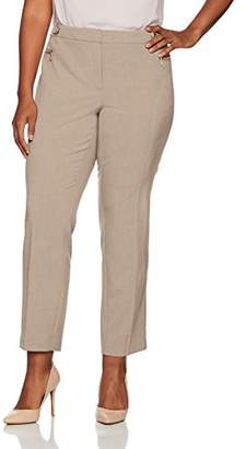 Calvin Klein Women's Plus Size Straight Pant with Buckle and Zip