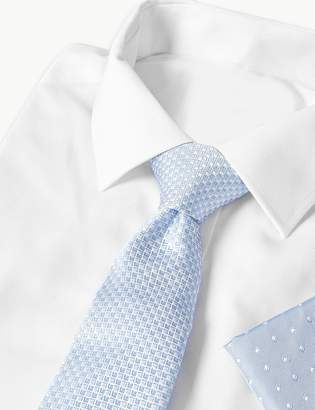 510d0f7d5939 M&S CollectionMarks and Spencer Pure Silk Geometric Hank & Tie Set