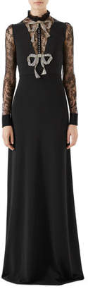 Gucci Long-Sleeve Stretch-Jersey Gown w/ Lace & Crystal Bow Detail