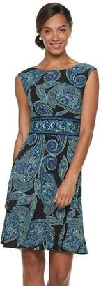 Petite Suite 7 Inset-Waist Cap Sleeve Dress