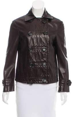 Michael Kors Leather Double-Breasted Jacket