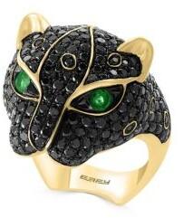 Effy 14K Yellow Gold, Emerald & Black Diamond Ring
