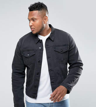 Asos Plus Denim Jacket In Washed Black