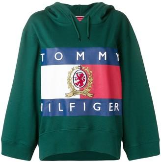 Tommy Hilfiger logo print cropped hoodie