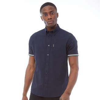 Short Sleeve Oxford Shirt With Tipped Rib Cuff Navy