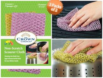 The Crown Choice Best Non-Scratch Heavy Duty Scouring Pad and Scrubber (3 Packs of 2) ☆ Outlasts 7+ Sponges, Dish Cloths, Scrubbers, Scrub Pads and Scourers ☆ Scrubs Tough Stains from Any Surface Without Scratching ☆ Replace Old Smelly Heavy Duty Sponges Today