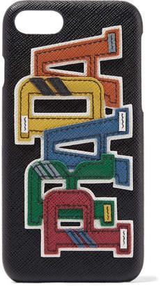 Prada Appliquéd Textured-leather Iphone 7 Case - Black