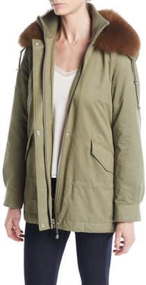 Derek Lam 10 Crosby Long-Sleeve Cinched-Waist Parka w/ Fur Collar