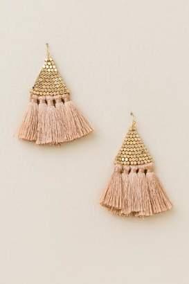francesca's Cathy Bead Tassel Earrings In Blush - Mauve