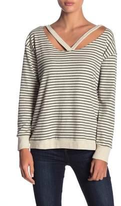 Honey Punch Stripe V Cutout Pullover
