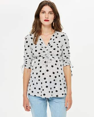 Spotted Tie Blouse