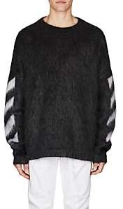 Off-White Men's Mohair-Blend Oversized Sweater-Dark Gray