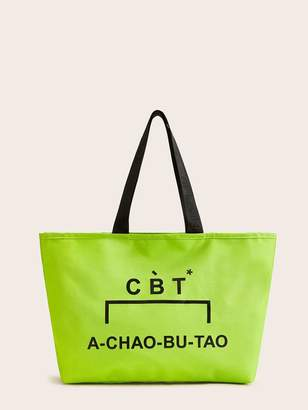 Shein Letter Pattern Oxford Fabric Tote Bag