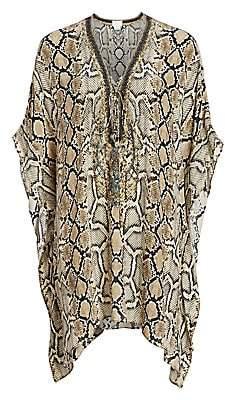 Camilla Women's Mother Short Python-Print Silk Lace-Up Caftan